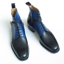Handmade Two Tone Style Men Leather Black Blue High Ankle Lace up Boots - $149.99+