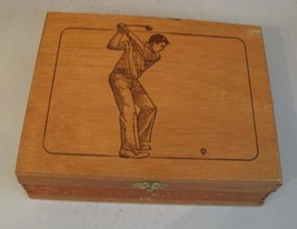 GOLF Vintage House of Windsor Palmas Empty Wood Cigar Box w GOLFER on Lid - $23.75