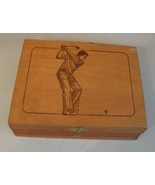 GOLF Vintage House of Windsor Palmas Empty Wood Cigar Box w GOLFER on Lid - $31.17 CAD