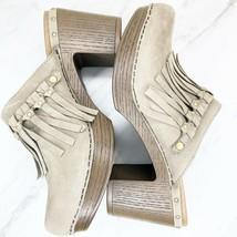 Dansko Deni Fringe Clogs Shoes Mules Milled Nubuck Taupe Leather EU 40 U... - $48.20