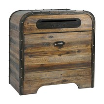 RESTORATION WOOD ACCENT END TABLE IRON BANDING VINTAGE POSTAL MAIL BOX S... - $547.80