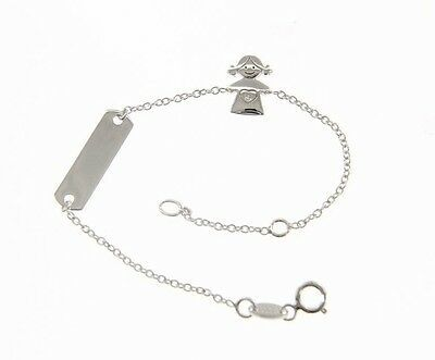 18 KT WHITE GOLD BRACELET FOR KIDS WITH GIRL AND CUBIC ZIRCONIA MADE IN ITALY
