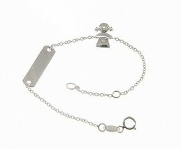 18 KT WHITE GOLD BRACELET FOR KIDS WITH GIRL AND CUBIC ZIRCONIA MADE IN ITALY image 1