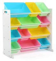 Kids' Toy Storage Organizer with 12 Plastic Bins, White/Pastel  - $85.00