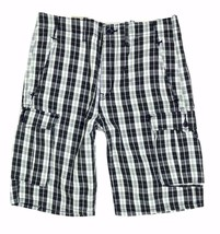 NEW LEVI'S MEN'S PREMIUM COTTON RELAXED FIT CARGO SHORTS BLACK PLAID 124630186 image 2