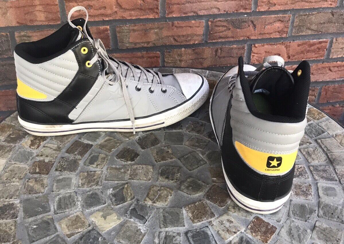 Cons Converse Men Sz 10 Women Sz 12 High Top Shoes Black Gray Yellow Tennis Shoe