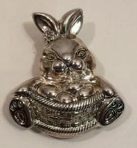 Vtg Lg 3D Domed Silver Easter Bunny Rabbit Brooch Pin With Egg Basket - $14.95