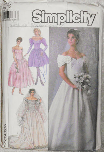 Wedding Dress Bridesmaids Dresses Vintage Size 12 EUR 40 Simplicity 8413 Pattern
