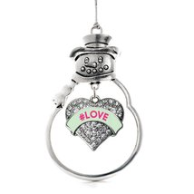 Inspired Silver #LOVE Green Candy Pave Heart Snowman Holiday Ornament - $14.69