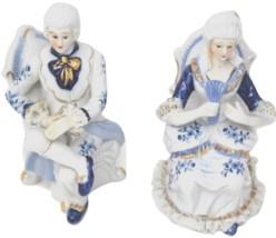 Pair  Dresden lace Victorian Colonial Porcelain Figurines Couple Gold Gilt - $119.99