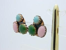 VTG RARE MATISSE RENOIR SCARAB Pink Green Blue Glass Cabochon Clip Earrings image 2