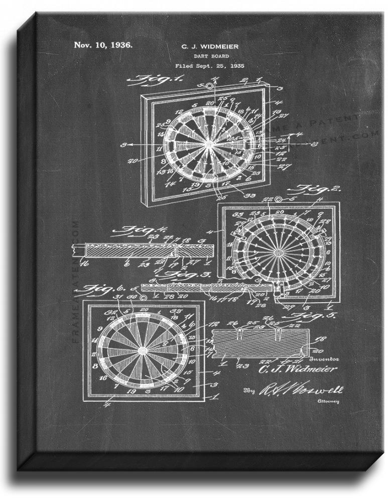 Primary image for Dart Board Patent Print Chalkboard on Canvas