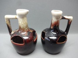2 Brown Drip Hull Puzzle Jugs / Planters Strawberrys Primitive - Vintage - - $22.85