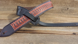 NEW Leather Hand Tooled Guitar Strap ~ Copper Razor Design - $179.00