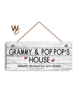 GRAMMY AND POP POP'S HOUSE Sign, Where Memories Are Made, Weathered 6x14... - $17.33