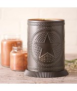 Electric.Candle warmer with punched Star in Kettle Black Tin - $38.00