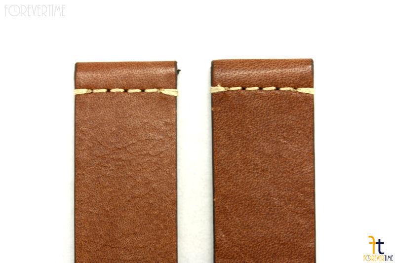 24mm Marrone in pelle Liscia Cinturino Orologio per Luminox Anallergico