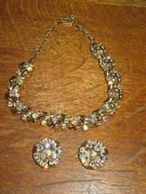 Beautiful Vtg LISNER Choker/Necklace-Clip Earrings Set-Aurora Borealis R... - $44.95