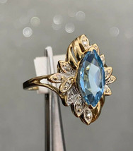 Blue Topaz Ring 10k Yellow Gold Design Ring Size L BHS - $441.09