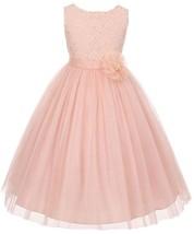 Flower Girl Dress Floral Pattern Top Soft Tulle Skirt Blush MBK 346 - $43.56+