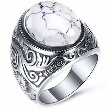 VQYSKO White Turquoise Ring Retro Vintage Mens Turquoise Rings Wedding B... - $9.46