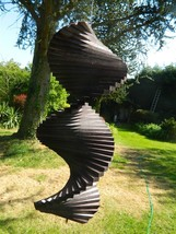 Wind Spinner Wooden Spiral Mobile Garden Ornament - Black Assorted Sizes - $13.09+
