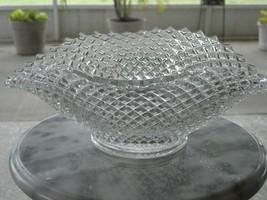 Westmoreland Crystal English Hobnail Pattern 555 Large Oval Crimped Bowl - $88.83