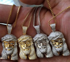 Mini Gold Plated Jesus Piece Chain Necklace Stainless Steel Iced Out - $30.51