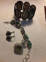 5-pc Vintage Abalone Set with Pendant, Pierced Earrings & 2 Bracelets - $13.85