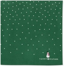 TOMMY HILFIGER Handkerchief SQUARE Pocket SCARF Silk GREEN Penguin Snowman - $29.97