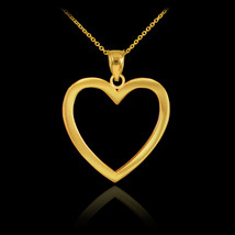 14K Polished Yellow Gold Open Heart Pendant & Chain Necklace with Gift Box - $88.19+