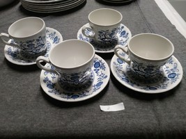 Enoch Wedgwood Blue Heritage Pattern 4 Cups 2 Saucers Made in England - $24.74