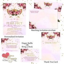 Kitty Face Baby Shower Invitation Set, Diaper Raffle, Thank You, Cat inv... - £12.01 GBP