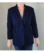Vintage Lee David Collection 80% Wool Blue Coat Jacket 3/4 Sleeve, Womens S - $36.63