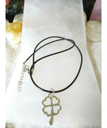 Four-leaf Clover Necklace Black Cotton Cord 16 18 in Women Men Great gif... - $9.89