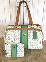 COACH crossgrain Chelsea Heritage Stripe Tote F15162 multicolored AND wr... - $74.25