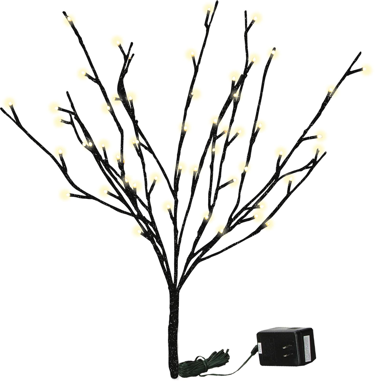 PBK Floral Decor Stem - Lighted Twig Branch Black Glitter - $27.95