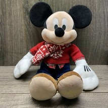 """Disney Store Mickey Mouse Plush 17"""" 2015 Christmas Red Snowflake Sweater Scarf - $19.20"""