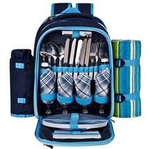 Picnic Backpack for 4 With Cooler Compartment,Plates and Cutlery Set (Blue) - $1.627,63 MXN