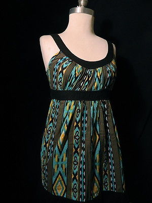 Primary image for Forever 21 SIZE Small BLACK/BLUE Geometric PRINT SLEEVELESS DRESS/TUNIC