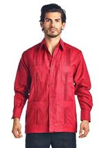 Men's Premium Cuban Beach Long Sleeve Button Up Linen Guayabera Dress Shirt image 3