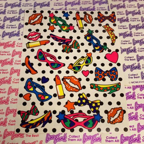 Lisa Frank Complete Sticker Sheet S125 High Heels Chic Sunglasses Lipstick Bow