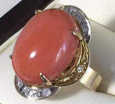 14 karat yellow gold coral ring with 0.12CT dia... - $2,500.00