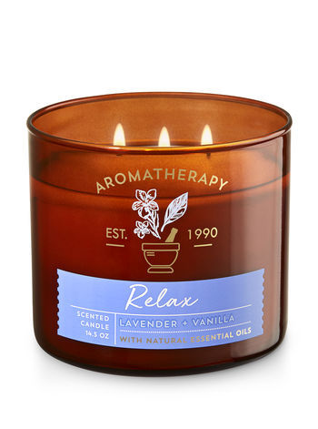 Bath & Body Works RELAX - LAVENDER & VANILLA 3-Wick Candle 14.5 oz / 411 g