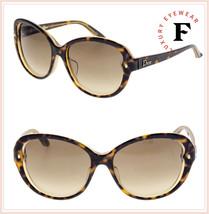Christian Dior Pondichery Cat Eye Brown Tortoise Crystal Lady Sunglasses - $197.01