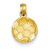 14k Yellow Gold Diamond Cut Soccer Ball Charm 20mmx12mm - $93.12