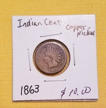 1863 Indian Head Cent Copper-Nickel - $9.90