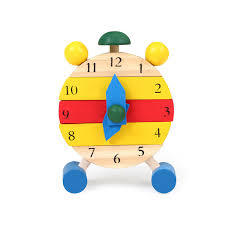 Cute Wooden Toys Assembled Disassemble Blocks Clock