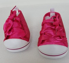 Build A Bear Workshop BAB Pink Sparkle And White Tennis Shoes And Ribbon Ties - $9.99