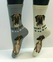 2 PAIRS Foozys Women's Socks GREAT DANE, Canine Collection, Dog Print, NEW - $8.99